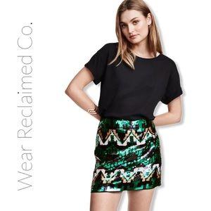 H&M Sequinned Mini Skirt | Aztec Design